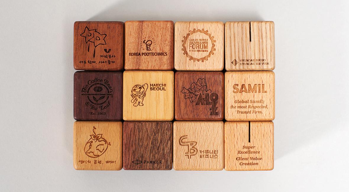 wooden magnet pen card holder for company gift funnyfish design